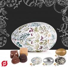 Metal egg with 175 g. organic Belgian luxury chocolate