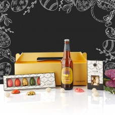 Gold Easter giftbox with Easter beer and chocolate eggs
